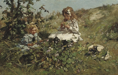 Picking flowers in the dunes