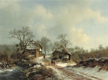 Villagers on a snow-covered pa