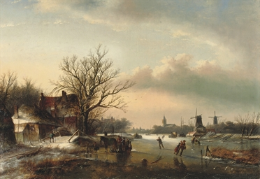 A winter's day with skaters on