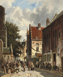 A busy market in a sunny Dutch