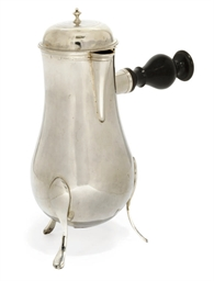 A SPANISH SILVER HOT-MILK JUG