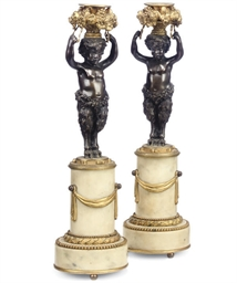 A PAIR OF FRENCH BRONZE, GILT-
