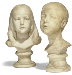 A PAIR OF ENGLISH WHITE MARBLE