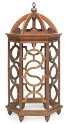 AN OAK HEXAGONAL LANTERN