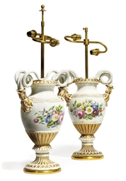 A PAIR OF MEISSEN OVIFORM VASE
