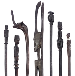 A COLLECTION OF AFRICAN CARVED