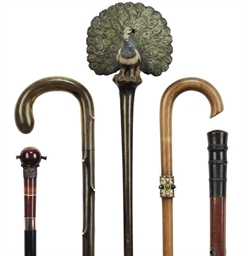 FIVE ASSORTED WALKING STICKS