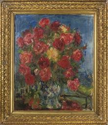 Roses in a vase, a landscape b