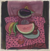 Watermelon, aubergine, apples, bananas and a pear on a table