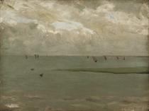 Sail boats beyond the beach
