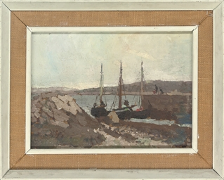 Boats moored in the harbour, C