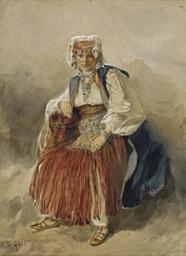 Femme assise en costume tradit