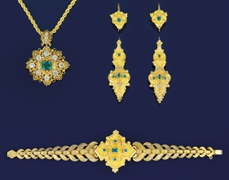 A 19th century gold, emerald a