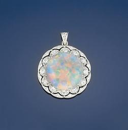 An opal and diamond pendant
