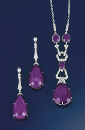 An amethyst and diamond pendan