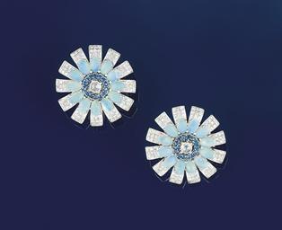A pair of diamond, opal and sa