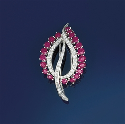 A ruby and diamond brooch, by