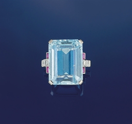 An aquamarine, ruby and diamon