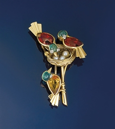 A multi-gem bird brooch, by Ca