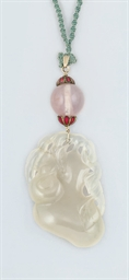 A Chinese jade and rose quartz
