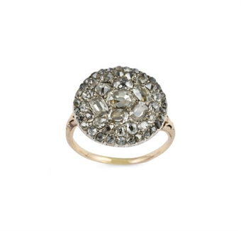 A late 18th century French diamond cluster ring