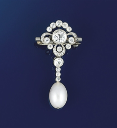 An Edwardian diamond and pearl