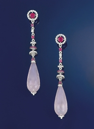 A pair of rose quartz, ruby, t