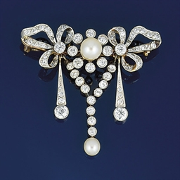 An Edwardian pearl and diamond