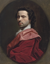Self-Portrait, bust-length, in a red mantle, in a feigned oval