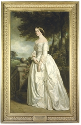 Portrait of Louisa Madeleine Keith-Falconer, née Hawkins (1828-1916), Countess of Kintore, full-length, in a white dress