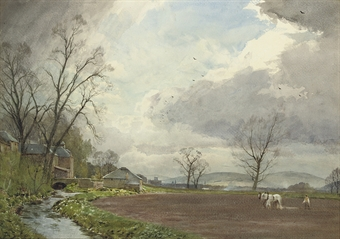 Ploughing at Newstead Bridge, near Melrose, Roxburghshire