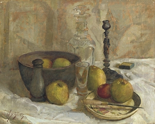 Still life with fruit and a de