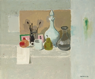 White Still Life with Pomegran