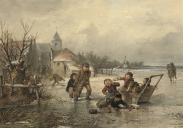 Children playing on the ice