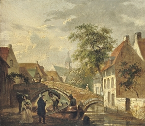 Townview with figures on a bridge