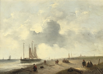 Moored ships off a Dutch coast
