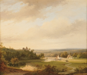 An extensive river landscape w