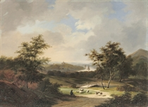 A hilly river landscape with a shepherd on a sandy track