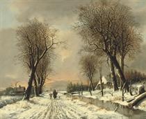 A walk along the snowy path