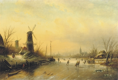 Skaters on the ice with a city
