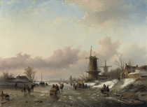 Figures on the ice with a koek-en-zopie and windmills