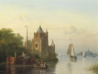 Shipping by a riverside castle