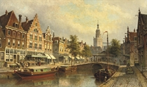 The fishmarket with the St. Janskerk beyond, Gouda