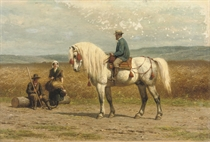 A gentleman riding his Andalusian horse