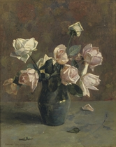 White and pink roses in a blue earthenware vase