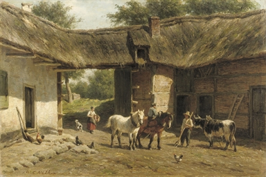 Working horses in a farmyard