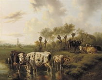 Cattle in a meadow with the city of Utrecht in the distance