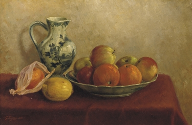 Apples, oranges and a jug on a