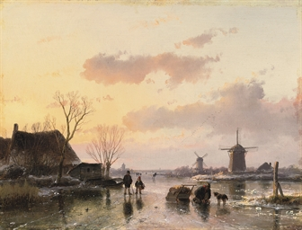 A winter landscape  with windm