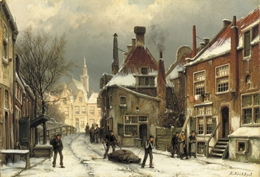 Villagers on a snow-covered st